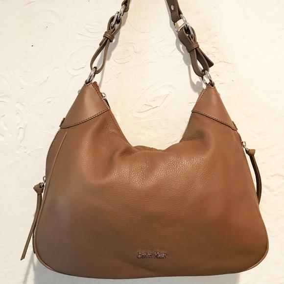 9ff1d59e3a141e Calvin Klein Bags | Brown Angelina Pebble Hobo | Poshmark